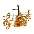 Musical stave volume guitar and saxophone Royalty Free Stock Photo