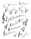 Musical staves wavy music vector set on white background Stock Photography