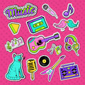 Musical Stickers, Badges and Patches. Music Instruments and Teenager Style Elements Doodle