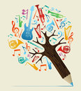 Musical studies concept pencil tree music study design vector illustration layered for easy manipulation and custom coloring Royalty Free Stock Images