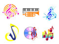Musical symbols and emblems Stock Photos