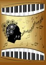 Musical theme with piano keyboard and silhouette face profile of singing woman. Decorative design element for an invitation or lea Royalty Free Stock Photo