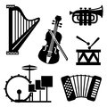 Musical tools icons set vector black and white of Stock Image