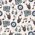 Musical vector background, music accessories seamless pattern Royalty Free Stock Photo