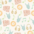 Musical vector background, music accessories seamless pattern. Royalty Free Stock Photo