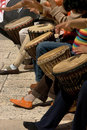 Musicants playing drums during street concert Royalty Free Stock Photography