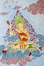 Musician angel mural thai can be found at all thai temple Stock Photos