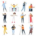 Musician artists. Guitar playing artist, young drummer and pop song singer. Musical instruments stage players isolated