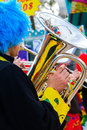 Musician clown playing tuba Stock Photos
