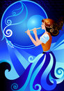 Musician flutist girl playing the flute fife character enchantress fairy vector illustration of fairy postcards posters cards Royalty Free Stock Images