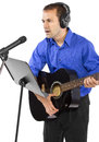 Musician with Guitar Royalty Free Stock Photo