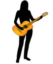 The musician and guitar silhouette of on white background vector Royalty Free Stock Images