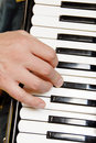 Musician hand playing accordion Royalty Free Stock Photos