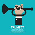 Musician hands playing trumpet vector illustration Stock Photography