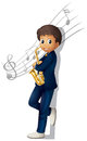 A musician holding a saxophone with musical notes illustration of on white background Royalty Free Stock Photos
