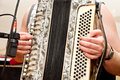 Musician playing accordion Stock Images