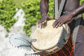 Musician playing drum young traditional african djembe Royalty Free Stock Images