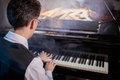 Musician playing the grand piano Royalty Free Stock Photo