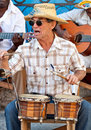 Musician playing traditional drums in Havana Royalty Free Stock Photos
