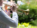 Musician playing trumpet in military band. open air concert. Royalty Free Stock Photo