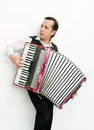 Musician portrait of professional with accordion Royalty Free Stock Photo