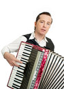 Musician portrait of professional with accordion Royalty Free Stock Photos