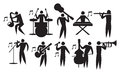 Musician vector icon set illustration of man playing different musical instruments Stock Photo