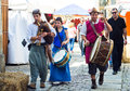 Musicians caminha portugal july with instruments and medieval costumes parade through the streets of the village during the Stock Photography