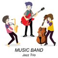 Musicians Jazz Trio ,Play guitar,solo guitarist, bassist,Saxophone. Jazz band.Vector illustration isolated on background in cartoo Royalty Free Stock Photo