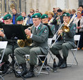 Musicians play trumpets military band tirol austria performs by the entrance to the gorki recreation park day of the city Stock Photography