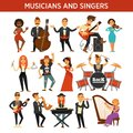 Musicians rock, jazz and orchestra band singers, musical instruments vector flat icons