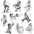 Musicians series collection of an hand drawn illustrations description full sized hand drawn illustrations isolated on white Royalty Free Stock Photography