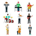 Musicians showman flat web infographic concept vector icon set group of creative young people playing instrument scene concert dj Royalty Free Stock Photo