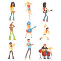Musicians And Singers Of Different Music Styles Performing On Stage In Concert Series Of Cartoon Characters
