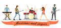 Musicians and singers vector set. Rock band