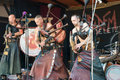 Musicians stylized as the Goths performing on the Heidelberg folk festival and playing bagpipes rock - September 25 2016