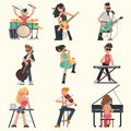 Musicians with their musical instruments set. Color vector illustrations