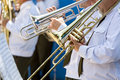 Musicians with trombones Royalty Free Stock Photo