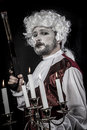 Musket gentleman rococo era wig picture with male model conceptual art Royalty Free Stock Images