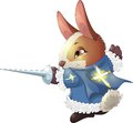 Musketeer the fantastic hare the with a sword in a pad Royalty Free Stock Photo