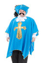 Musketeer in turquoise blue uniform cavalier gentleman feathered cap and of the cross with over a rotund fat belly isolated on Royalty Free Stock Photos