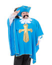Musketeer in turquoise blue uniform cavalier gentleman feathered cap and of the cross with over a rotund fat belly isolated on Royalty Free Stock Images