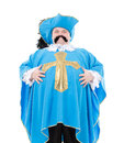 Musketeer in turquoise blue uniform cavalier gentleman feathered cap and of the cross with over a rotund fat belly isolated on Royalty Free Stock Photography