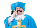 Musketeer in turquoise blue uniform cavalier gentleman feathered cap and of the cross with over a rotund fat belly isolated on Stock Photography