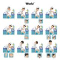 Muslim ablution or purification ritual guide step by step using water perform by boy vector illustration Stock Photos