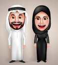 Muslim arab man and woman vector character wearing arabic traditional abaya Royalty Free Stock Photo