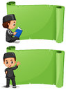 Muslim boy and green banner template Royalty Free Stock Photo