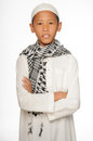 Muslim boy wearing islamic attire Stock Photography
