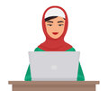 Muslim business pretty woman in traditional clothing working on laptop . Arabian female Vector illustration. Royalty Free Stock Photo