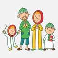Muslim cartoon family